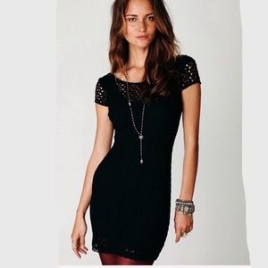 Free People crochet knitted black dress size M